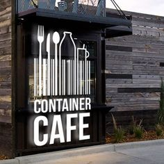 Create a branding package for a converted shipping container cafe by FORTUNA Design Container Home Designs, Café Container, Container Coffee Shop, Container Buildings, Container Architecture, Shipping Container Restaurant, Converted Shipping Containers, Coffee Shop Design, Cafe Design