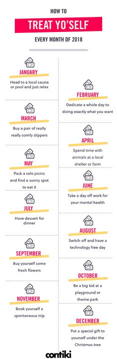 How to treat yo'self every month of 2018 (Infographic)