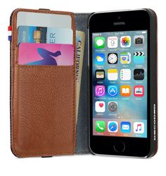 Protect your iPhone 5 or iPhone 5s in this premium wallet case, featuring a soft lining and three credit card slots. Buy now at the Apple Online Store.