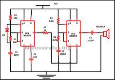 Police Siren using NE555 Timer Circuit Diagram