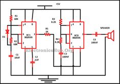 Circuit Diagram of Police Siren using 555 Timer: This circuit produces a sound similar to the police siren. It is used to prevent the act of theft and murders. For more information, visit http://www.electronicshub.org/police-siren-circuit-using-ne555-timer/