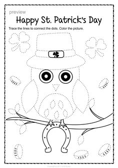 Patrick`s Day Trace and Color Pages {Fine Motor Skills + Pre-writing} Tracing Worksheets, Preschool Worksheets, Toddler Activities, Fun Activities, Music Border, Pre Writing, Morning Work, Learning Colors, Fine Motor Skills