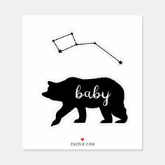 Baby bear sticker. sticker Exterior Car Accessories, Vinyl Sheets, Personalized Stickers, Decorated Water Bottles, Baby Design, White Ink, Business Logo, Cute Stickers, Constellations