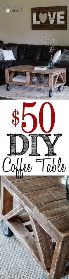 DIY Coffee Table for under $50 at Shanty-2-Chic.com....project for Josh....mine is on it's last leg !!!!