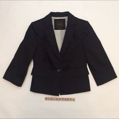 """The Limited 3/4 sleeve black blazer Black blazer, 3/4 length sleeves, size XS, overall length 22.5"""", 96% cotton/4% spandex shell, 100% polyester lining, dry clean only. 2 front decorative pockets (not actual pockets). 1 button in front, decorative buttons on the sleeves. Worn once so it's in excellent condition. No damage/fraying/stains. Has been dry cleaned and stored in a non-smoking/pet-free home. No trades or PP. *15% off bundles of 2+ items!* The Limited Jackets & Coats Blazers"""