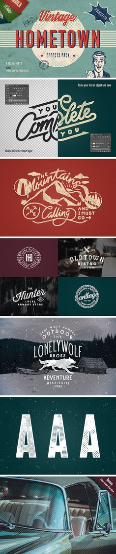Hometown free vintage text & photo effects pack Photoshop Text Effects, Photoshop Actions, Free Photos, Old Photos, Text On Photo, Magazine Template, Photo Effects, Make You Smile, Free Design