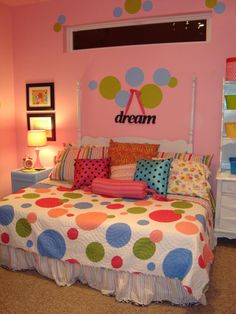 polka dot bedroom, This 8 year old girls bedroom is bright funky and perfect for hanging out with friends or just reading a book.  My daughter and I created the circles with 5 different sizes of plates lids and a CD.  The headboard is nailed to the wall the full mattress is on a frame daybed style.  The desk is from a second-hand store painted to match the circles., Girls Rooms Design