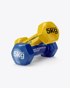 Glossy Dumbbells Mockup - Half Side View
