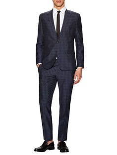 Wool Checkered Suit by Ben Sherman Tailoring at Gilt