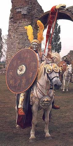 Reenactor and horse wearing the kit of a Roman cavalryman during the Hippika Gymnasia. The Hippika Gymnasia were ritual displays or tournaments performed by the cavalry of the Roman Empire to display their skill and expertise.