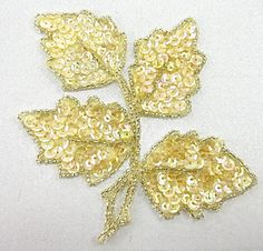 "Leaf with Iridescent Peach Sequins and Beads 4.5"" x 4.5"""