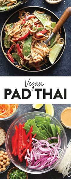 This Vegan Pad Thai with Thai Peanut Sauce packs a punch with colorful veggies including sweet potato noodles, red peppers, pea pods, red onions and tossed with a delicious Thai peanut sauce. Top with toasted quinoa and you're off to enjoy a delicious vegan meal! #padthai #healthy #recipe #recipes #vegan #veganrecipe