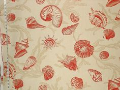 Sea shell toile fabric- red by Brick_House_Fabrics, via Flickr