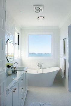 Veranda House - bathrooms - freestanding tub, freestanding bath, wall mount faucet, wall mounted faucet, picture window, beach bathroom, whi...