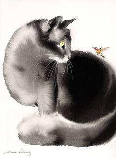 Original Animal Drawing by Soo Beng Lim Watercolor Drawing, Watercolor Animals, Cat Drawing, Painting & Drawing, Watercolor Paintings, Portrait Paintings, Abstract Portrait, Painting Abstract, Acrylic Paintings