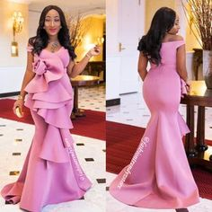 Long gown with tail Rose design ruffles Stretchy Small: Medium: Large: African Dress Patterns, African Lace Dresses, African Wedding Dress, Latest African Fashion Dresses, Mermaid Dress Pattern, Rose Gown, African Lace Styles, Dinner Gowns, Ballroom Dress