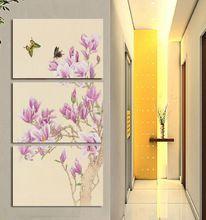 3 pannello di orchidea farfalla dipinti ad olio arte a buon mercato picture home decor su tela di canapa moderna stampe murali opere d'arte della tela di canapa pittura t/1105(China (Mainland))