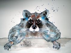 Waschbär, Tusche-Aquarell Fictional Characters, Watercolor, Painting Art, Fantasy Characters