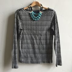 NWTJones New York Top Brand new with tags soft black and white houndstooth long sleeve top.  100% cotton.  In brand new condition. Jones New York Tops