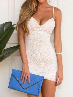 White, Lace, Spaghetti Strap, Bodycon Dress
