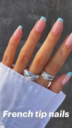 Summer Acrylic Nails, Cute Acrylic Nails, Acrylic Nail Designs, Stylish Nails, Trendy Nails, Light Blue Nail Designs, Cute Simple Nails, Acylic Nails, Manicure Y Pedicure