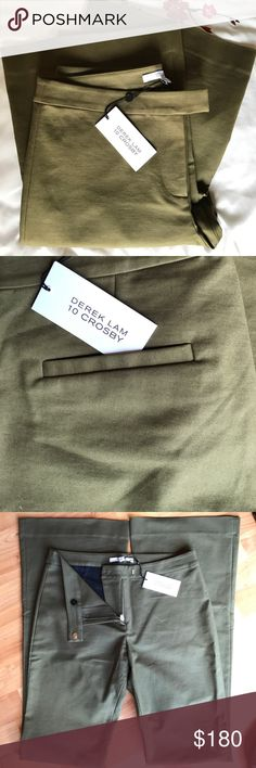 """🌼SALE! DEREK LAM 10 CROSBY Pants Army Green color Size 2  Army Green,  Crotch to waist back 13"""" Crotch to waist front  10"""" Waist about 30"""" Circumference  Hip area 38"""" Circumference  Bottom leg 22"""" circumference Derek Lam Pants Boot Cut & Flare"""