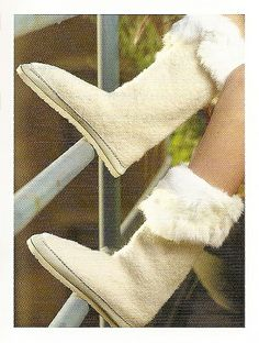 Felted Aussie Boots featured in It Girl Knits by Phoenix Bess - knitted boots with fur trim and sew-on soles