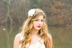 Bridal flower headpiece bridal hair crown white by serenitycrystal, $45.00
