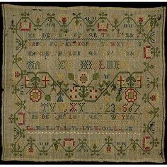 embroidered 1741, English Sampler