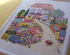 My Monique's Garden  embroidery pannel from Canevas Folies embroidery Kits.