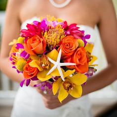 Starfish bouquet perfect for a beach wedding