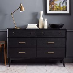 obsessed with this new mid-century black collection from west elm