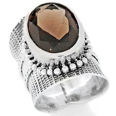 Karen Tribe Silver Collection Smoky Quartz Cigar Band-Style Ring at HSN.com.