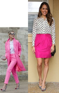 Cerise pink skirt and white shirt with black dots
