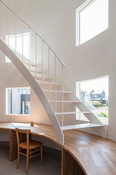 House in Hikone, Prefettura di Shiga, 2014 - Tato Architects #staircases