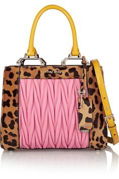 7d6340c7e9c1 Miu Miu Double Handle leopard-print calf hair and matelassé leather  shoulder bag