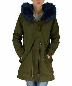 Γυναικείο μπουφάν παρκά χακί με μπλε γούνα F603C   χειμωνιατικαμπουφανγυναικεια  εκπτωσεις  προσφορες Parka fc173b02f72