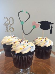 Nurse Graduation Cupcake Toppers by BicoastalMarketPlace on Etsy