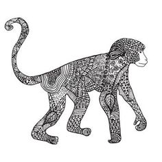tribal monkey: Ornamental hand drawn sketch of monkey in zentangle style. vector illustration with ornament, isolated.