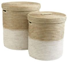 White Dipped Round Baskets - $89.00 | For laundry