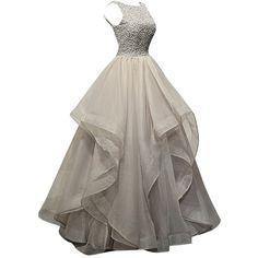 Dresstells Long Prom Dress Asymmetric Bridesmaid Dress Beaded Organza... ($120) ❤ liked on Polyvore featuring dresses, gowns, beaded gown, long evening dresses, long dresses, long prom dresses and long ball gowns