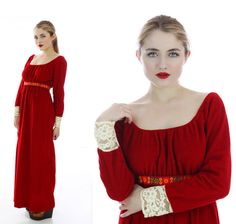 Vintage Hippie Dress 60s Red Burgundy Velour by neonthreadsdesigns, $56.00