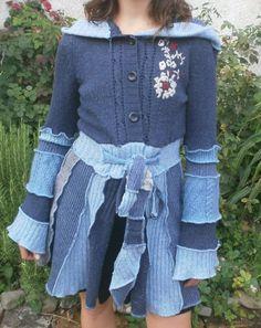 """Dieses wunderbar einzigartige """"Frau Holle Mäntelchen"""" mit Zipfelkapuze wurde in meiner kleinen Klamottenwiederbelebungsmanufaktur von mir aus zusammen"""