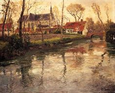 A River Landscape with a Church Beyond, Fritz Thaulow. Norwegian (1847 - 1906).  (1) Tumblr