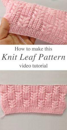 Knit Leaf Pattern You Could Learn Easily – Crochet Free Pattern - Agli - Stric. Knit Leaf Pattern You Could Learn Easily – Crochet Free Pattern - Agli - Stricken ist so einfach wie 3 Das Stricken läuft auf drei wesentliche F. Knitting Terms, Knitting Stiches, Easy Knitting, Loom Knitting, Knitting Projects, Crochet Stitches, Crochet Patterns, Knit Crochet, Knitting Ideas