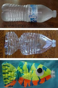 This water bottle fish craft is both easy and fun for kids of all ages. Fish Crafts for Kids! Kids Crafts, Summer Crafts, Preschool Crafts, Arts And Crafts, Craft Kids, Craft Art, Creative Crafts, Creative Art, Easy Crafts