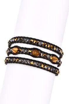 Crystal Corado Stud Wrap Bracelet by Non Specific on Beaded Clutch, Beaded Bracelets, Wrap Bracelets, Charm Bracelets, Beaded Leather Wraps, Leather Cord, Chan Luu, Bracelet Designs, Leather Jewelry