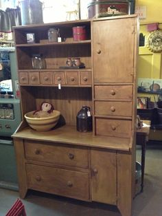 Primitive Mustard Bakers Cupboard by Beavercreek Uniques...NICE!!