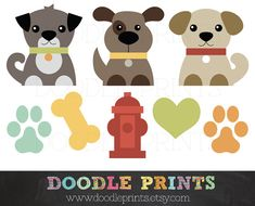 Dog Clip Art Printable - Dogs Clipart Design - Puppy Love Design - Pets, Puppy…
