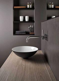 66 consider black cabinets for your modern bathroom design 16 - coodecors Bad Inspiration, Bathroom Inspiration, Modern Bathroom Design, Bathroom Interior Design, Diy Interior, Grey Bathrooms, Small Bathroom, Reece Bathroom, Toilet Design